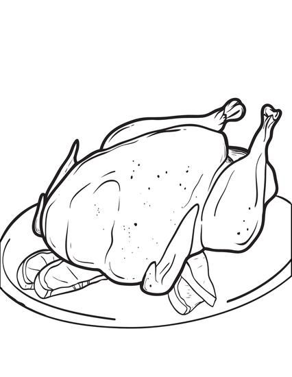 Printable Cooked Thanksgiving Turkey Coloring Page For Kids
