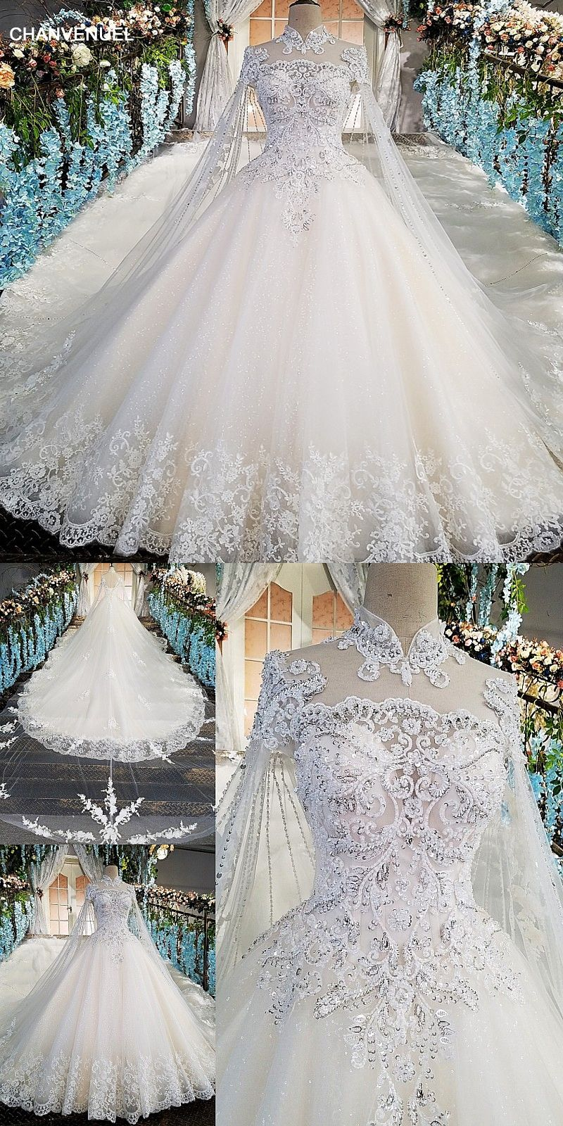 Ls00169 Luxury Wedding Gowns With Cape Beaded Ball Gown Short Sleeves High Neckine Lace Vestido De N Ball Gown Wedding Dress Wedding Dresses Ball Gowns Wedding [ 1600 x 800 Pixel ]