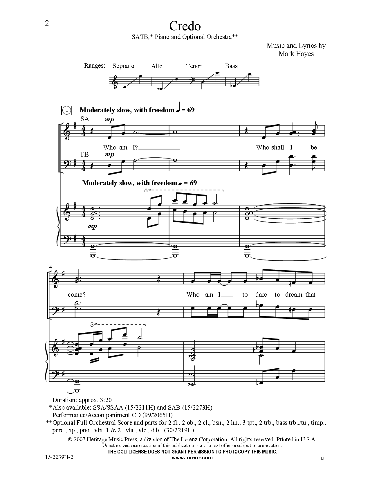 Credo Satb By Mark Hayes J W Pepper Sheet Music