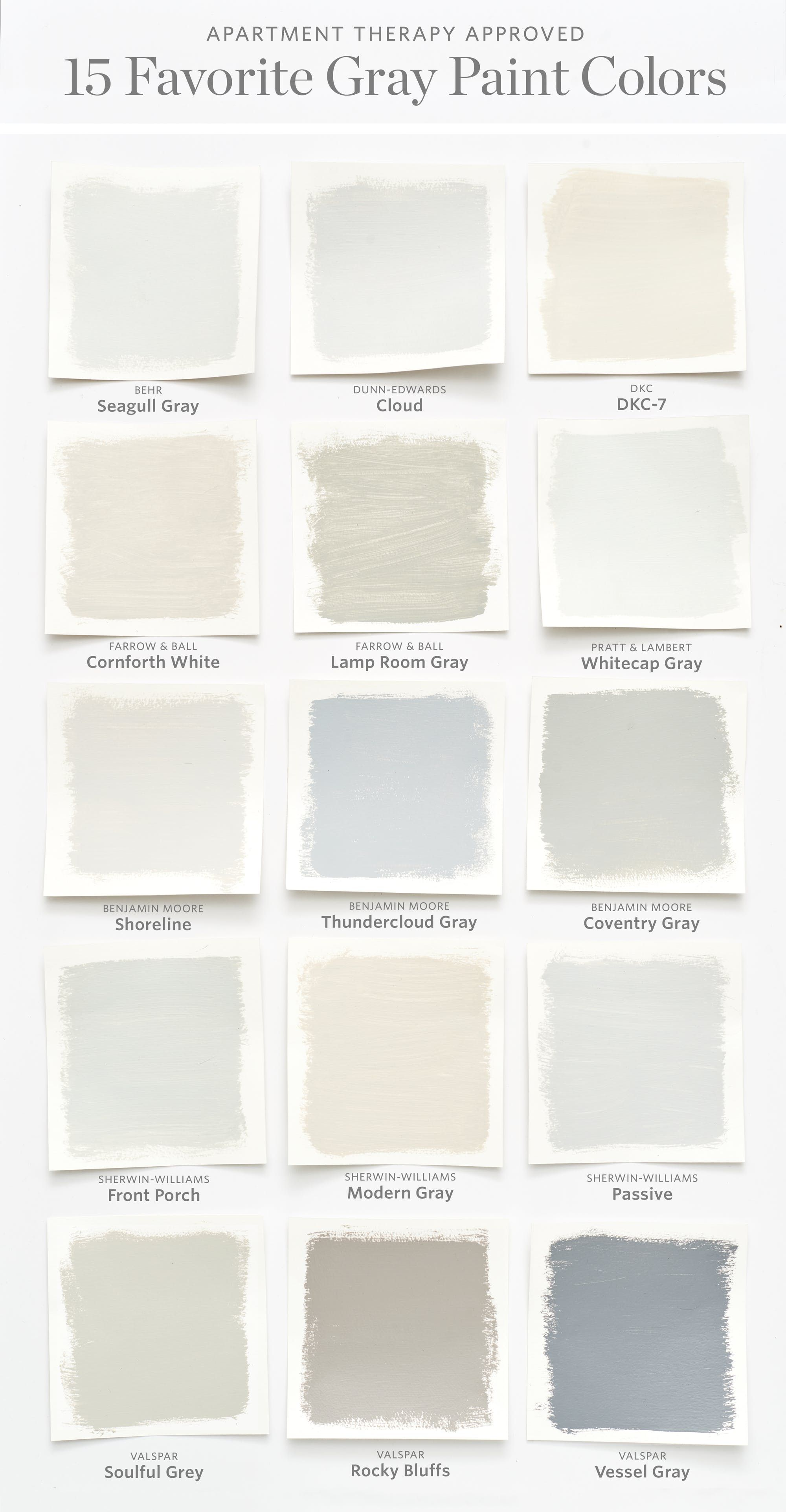 Best Grey Paint Colors color cheat sheet: the 15 most perfect gray paint colors | gray