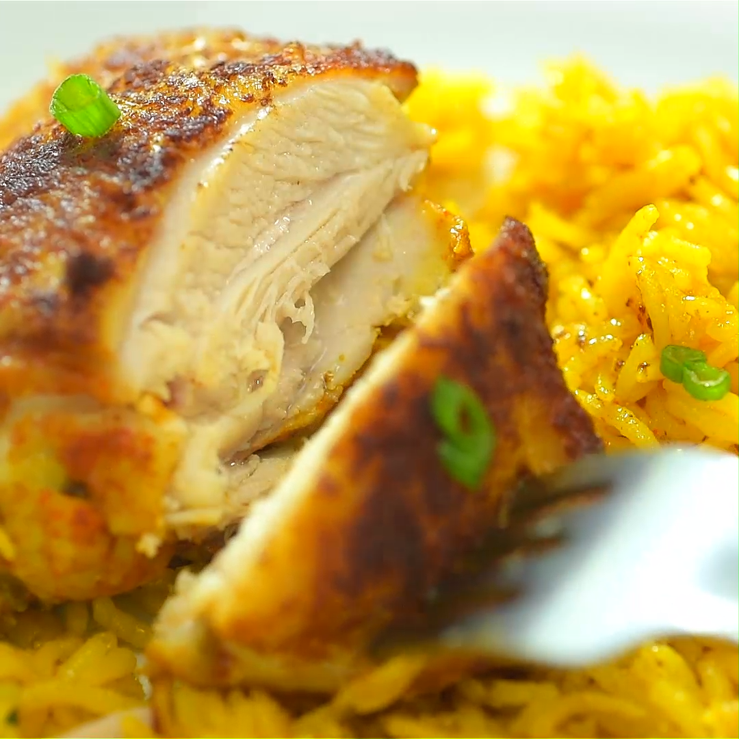 If you are looking for a quick and easy chicken and rice dinner, you've got to try this amazing One Skillet Chicken and Yellow Rice! Treat your family and friends with this elegant and tasty meal! ch is part of Easy chicken and rice -
