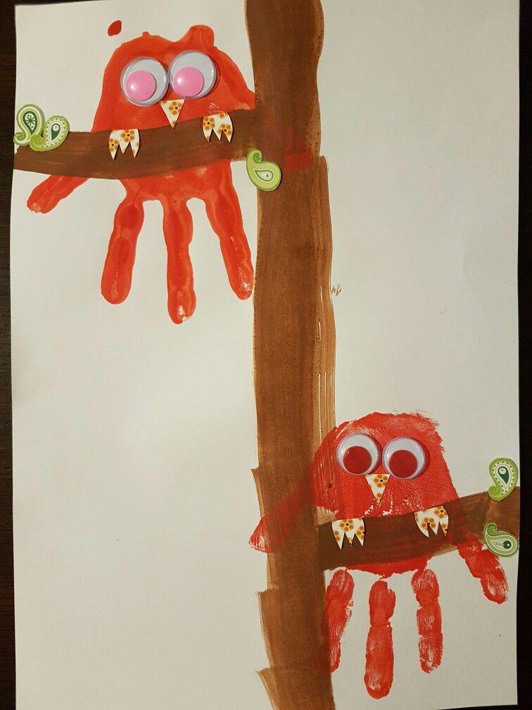Handabdruck Eule Uhu Handprint Owl Fussabdruck