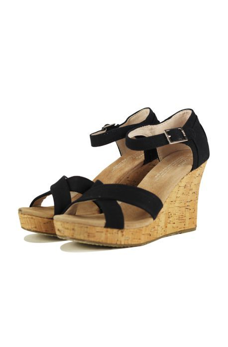 9f701aa3420 Toms Shoes The Strappy Canvas Cork Wedge in Black