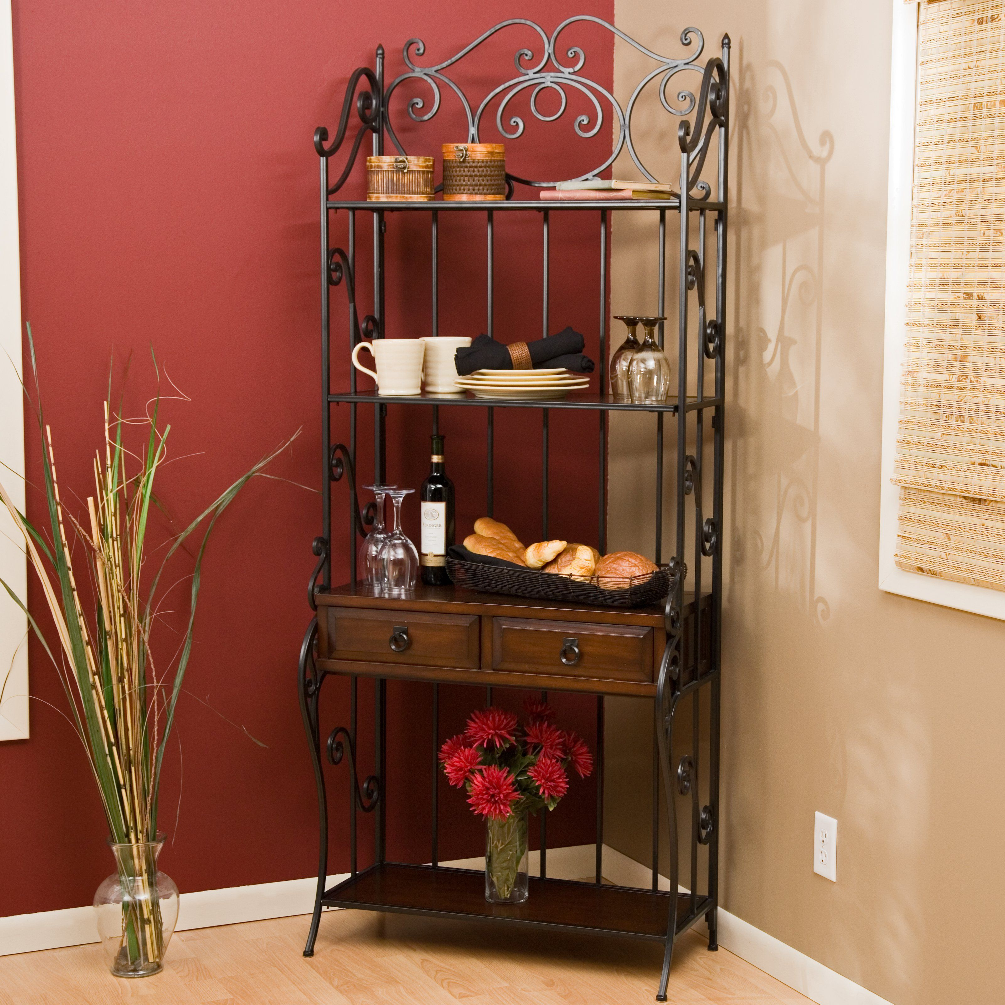 with wood countertops rack of big combine lots full shelf appealing cabinet decor wine fascinating bakers in home size racks uncategorized wire walmart glorious for baker