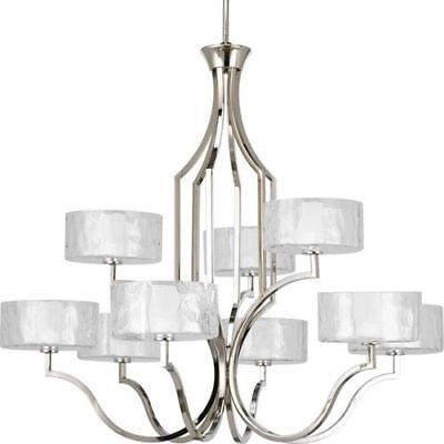 Caress Polished Nickel Nine-Light Chandelier with Glass Diffuser ...