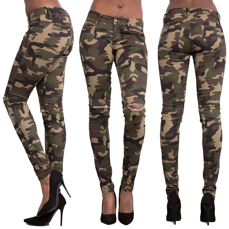 Women Denim Skinny Ripped Pants High Waist Stretch Jeans