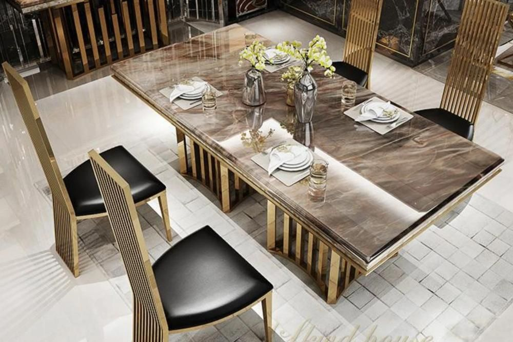 Minimalist Stainless Steel Golden Dining Room Set With Marble Table And Leather Chairs 1 4 Chairs In 2021 Dining Table Marble Modern Marble Dining Tables Marble Dining