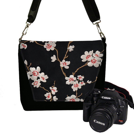 Womens Dslr Camera Bag Purse Asian Plum Blossom Messenger Bag, SLR Camera Case Canon Nikon, Zipper Pocket  red  black MTO