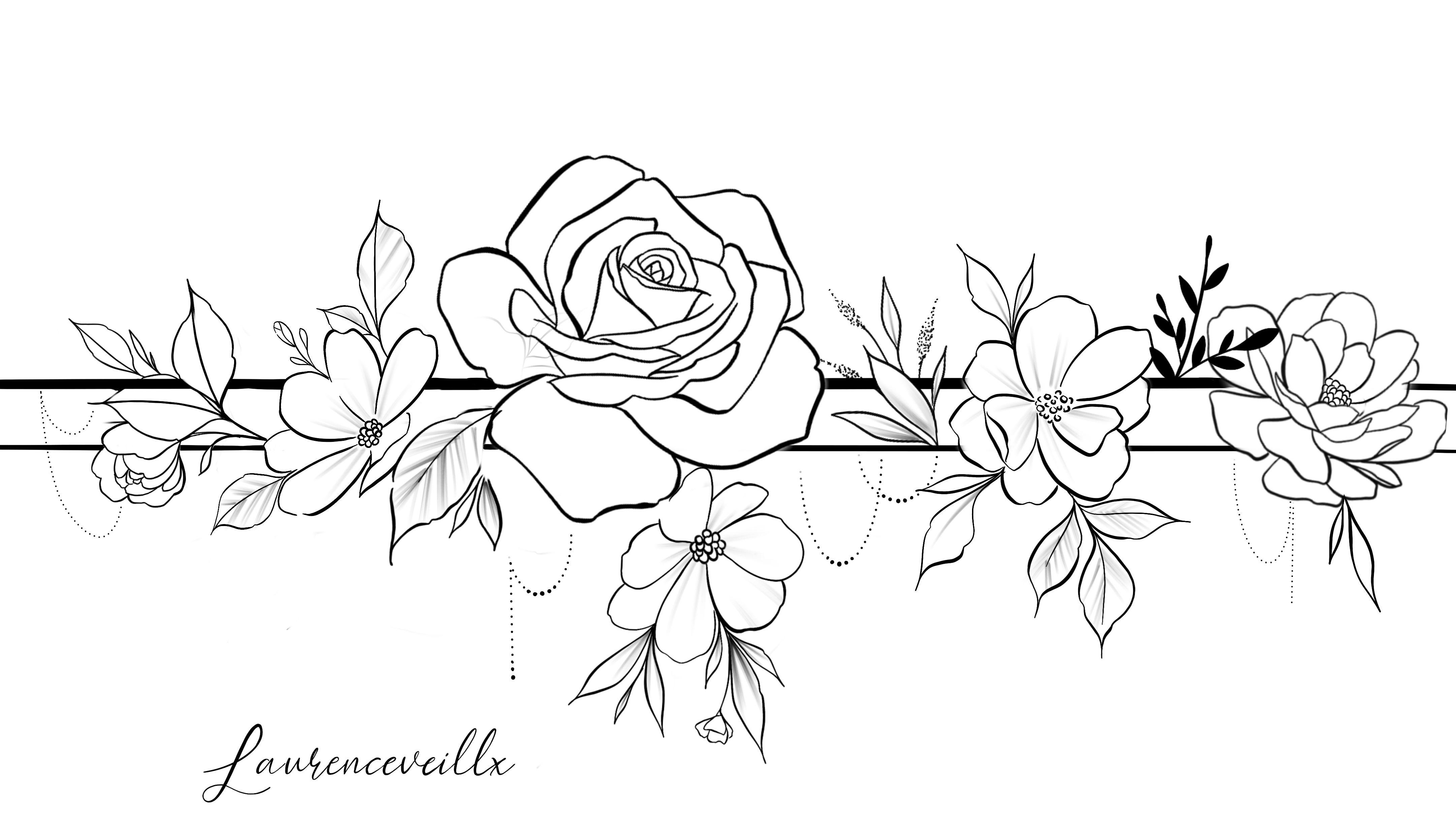 Photo of Rose Flower Bracelet Chain Tattoo Design @laurenceveillx