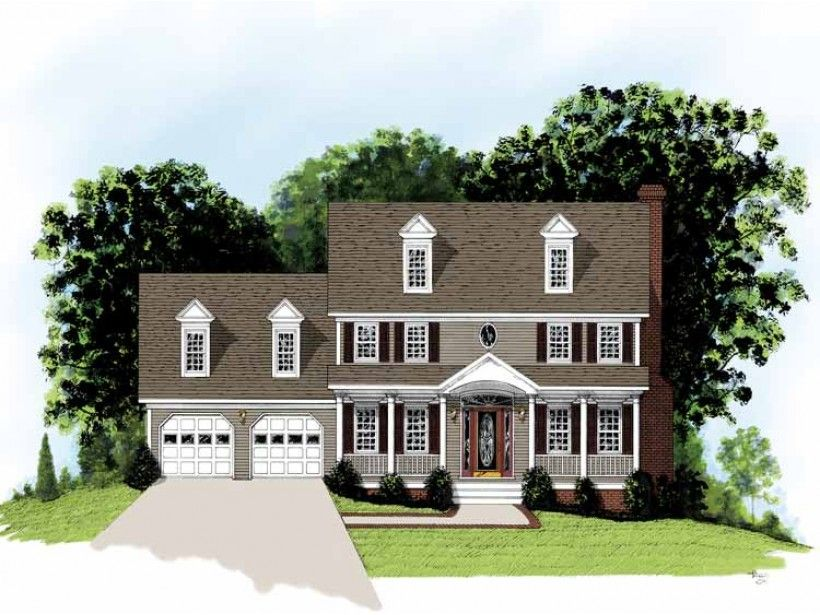 4 bedroom 2 bath adam federal colonial style home for Federal colonial house plans