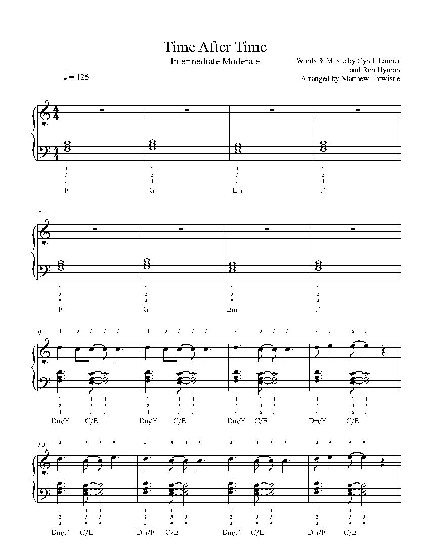 Time After Time By Cyndi Lauper Piano Sheet Music Intermediate Level Piano Sheet Music Sheet Music Piano Sheet Sheet music reading app for ipad