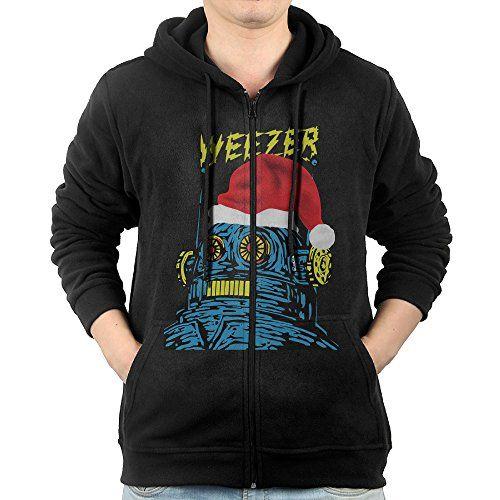 Weezer Christmas Sweater.Aasd Mens Weezer Logo Merry Christmas Fullzip Fleece Hoodie