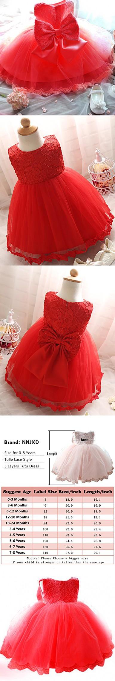 51154e088e75 NNJXD Girls  Tulle Flower Princess Wedding Dress For Toddler and ...