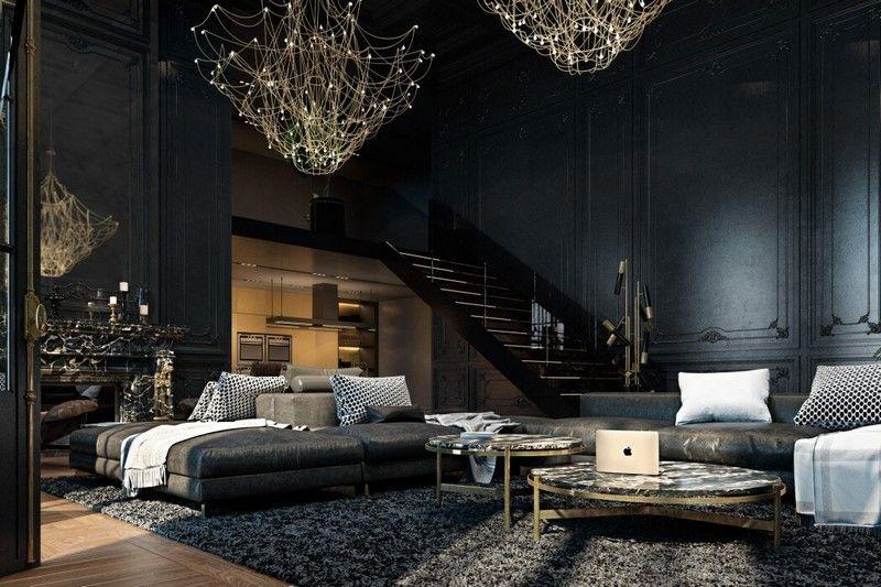 einrichtung-schwarz-gold-wohnzimmer-kronleuchter | Carpintería ...