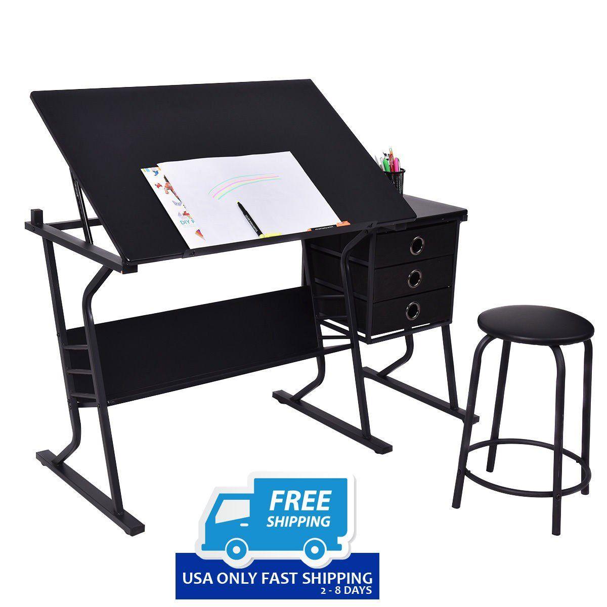 Black Adjustable Drafting Table W/ Stool U0026 Side Drawers!