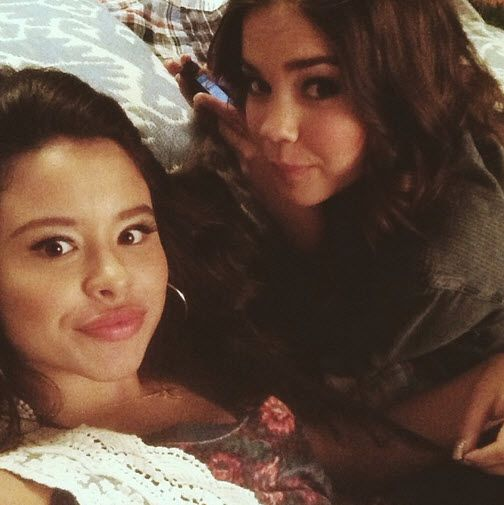 Cierra Ramirez and Maia Mitchell on the set of The Fosters!