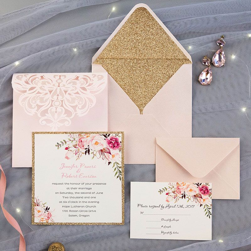 Romantic Blush Pink Spring Flower Glittery Laser Cut Pocket Wedding