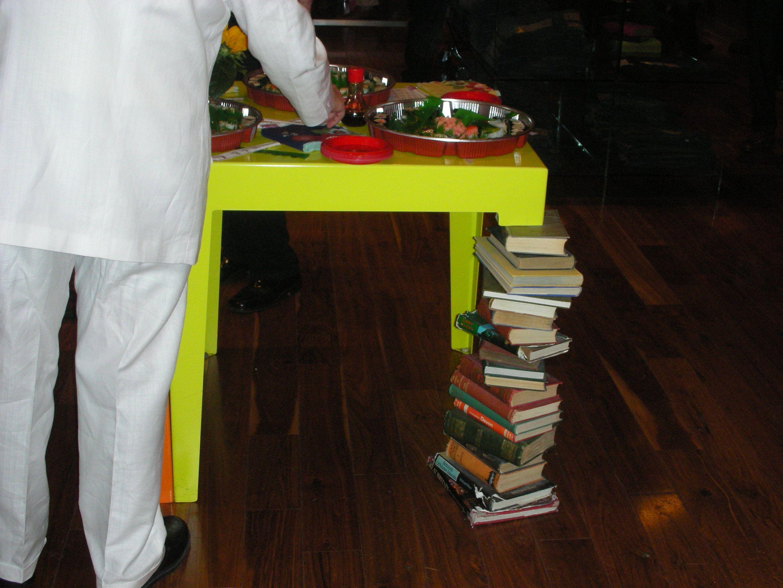 cool idea stacked books table leg