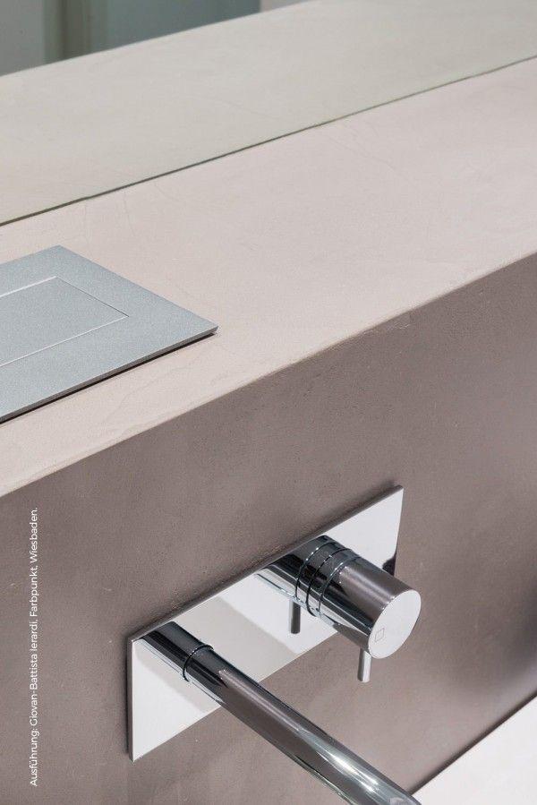 Inspiratie - Beton-Ciré Betonnen badkamer/Concrete bathroom - peinture beton cire mur