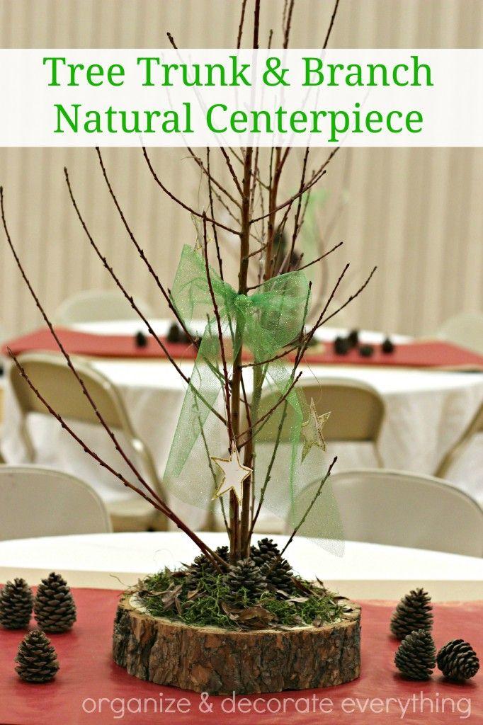 Tree Trunk Slice Branch Centerpiece Tree Branch Decor Branch Centerpieces Tree Trunk Slices