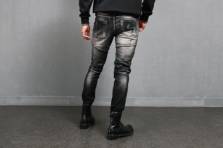 Mens Vintage Black Quilted Seaming Ribbed Knee Biker Skinny Jeans 181 Gentler | eBay