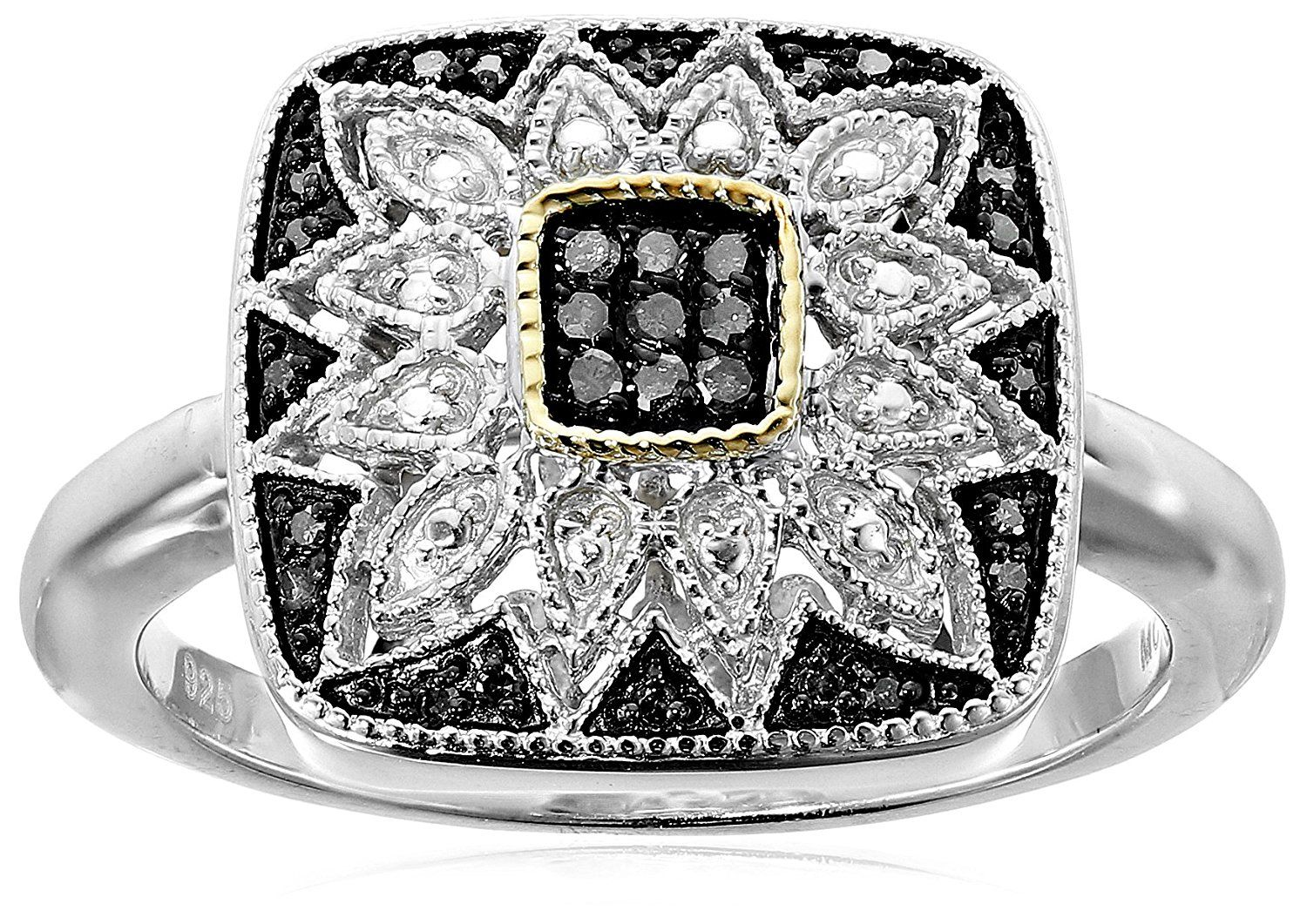 Sterling Silver and 14k Gold Black or Blue Diamond Square Ring (1/7 cttw) ** Read more  at the image link.