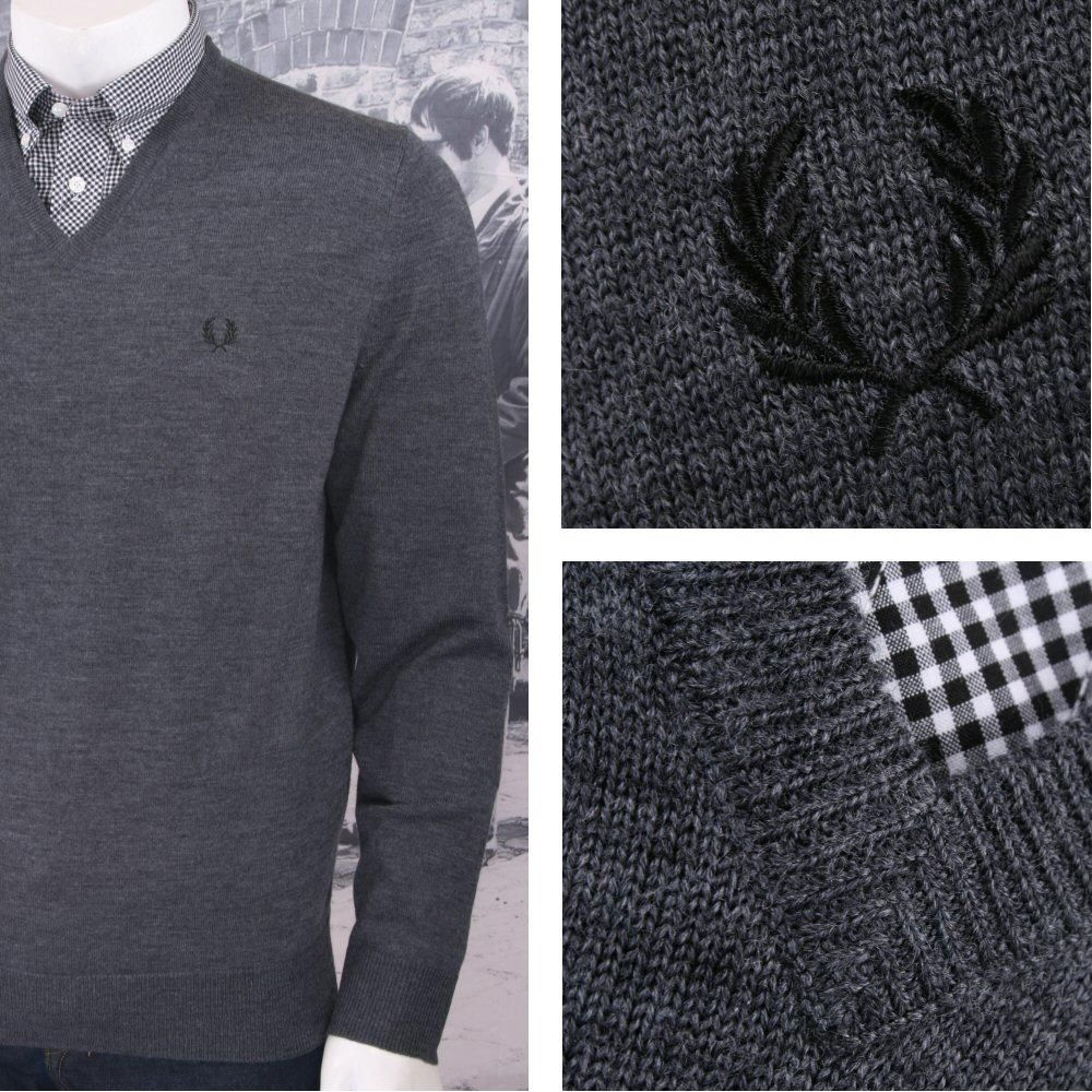 best quality dependable performance custom Fred Perry Mod 60's Laurel Wreath Merino Wool Knit V Neck ...