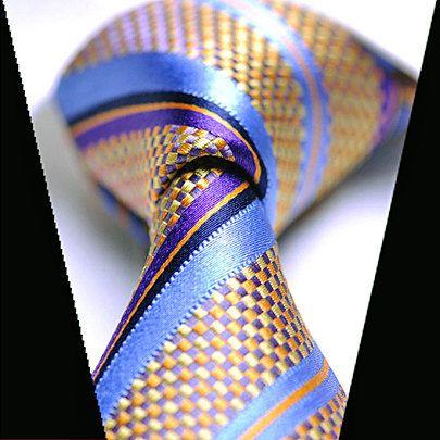 424222a609a3 Silk Tie Orange Purple Light Navy Blue Checkered Striped Necktie / Tie /  Mens Tie /