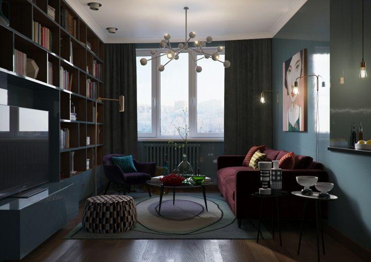 Wohnzimmer Bücherwand Grau Farbkombinationen Grau Lila Rot #innendesign  #interior #design