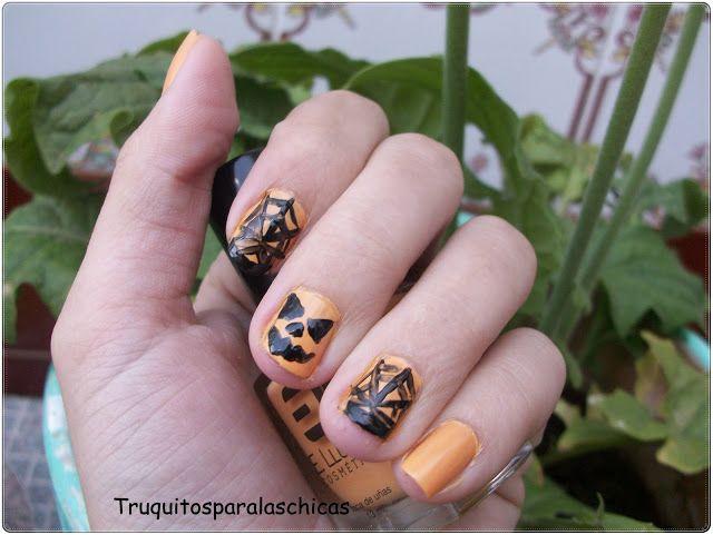 Manicura halloween calabaza // Manicure halloween pumpkin | Nail art ...