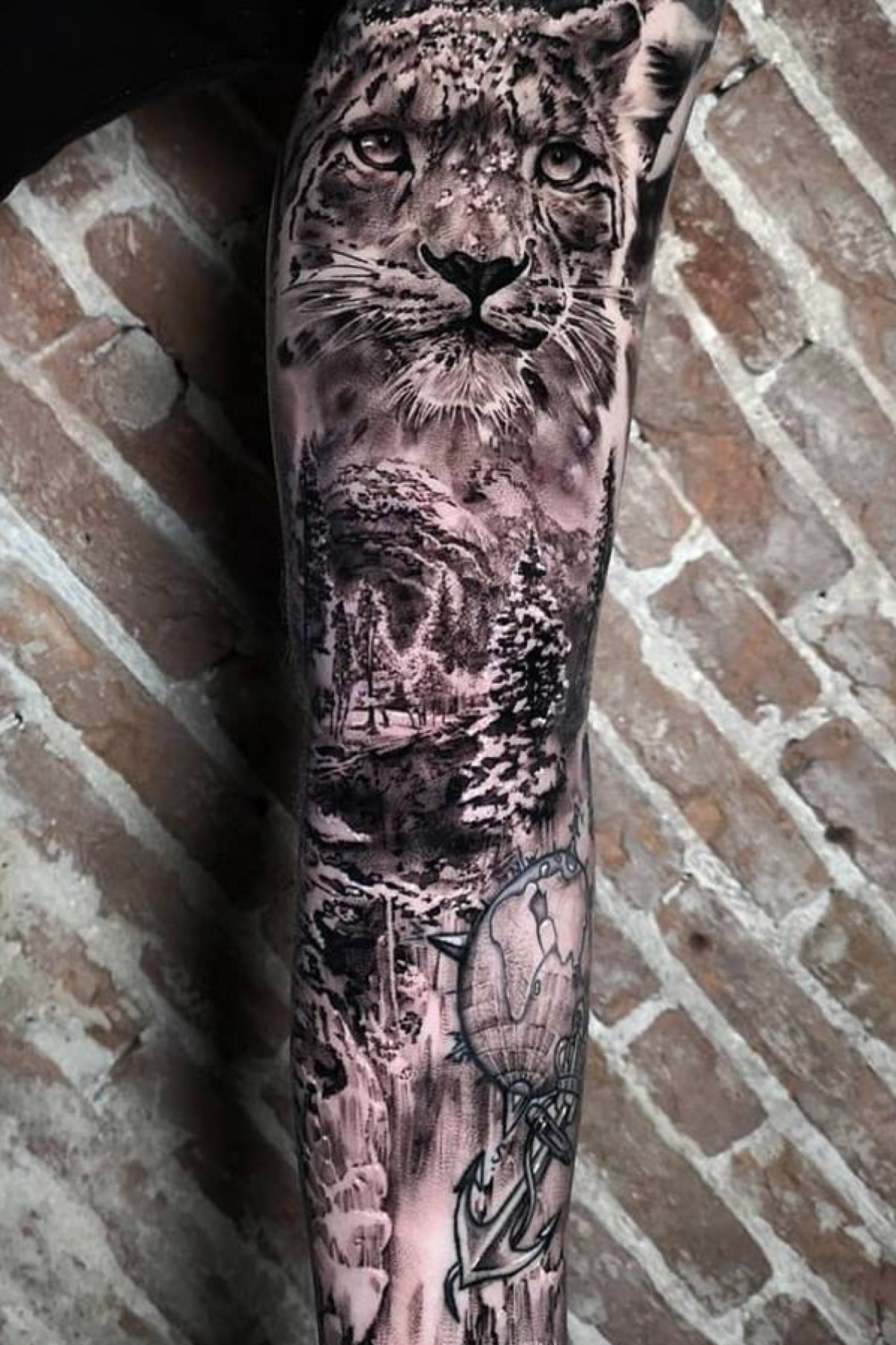 Black And Grey Nature And Snow Leopard Full Sleeve Tattoo Realistic Big Cats Tattoo By John Hudic Leopard Tattoos Sleeve Tattoos Big Cat Tattoo