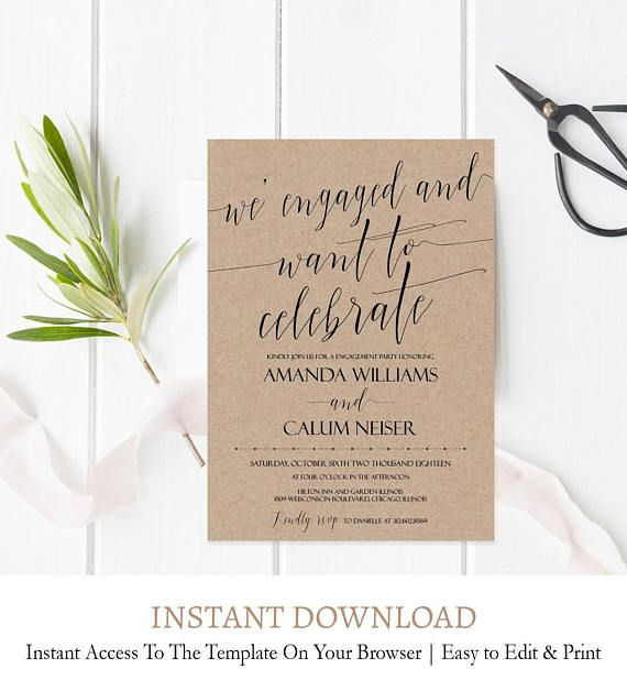 Engagement Invite Templates Beauteous Printable Engagement Party Invitation Template Rustic Wedding .