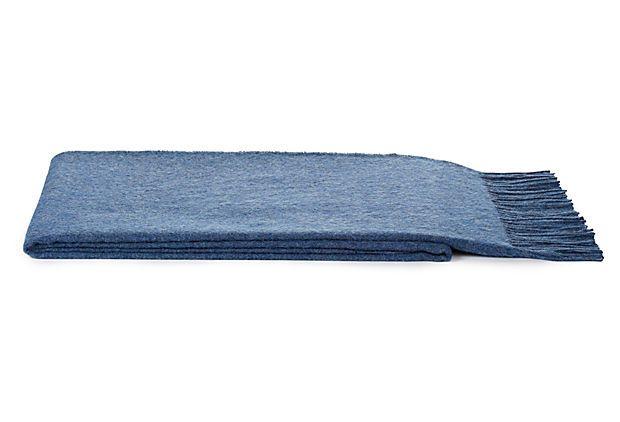 Melange Alpaca-Blend Throw, Blue on OneKingsLane.com