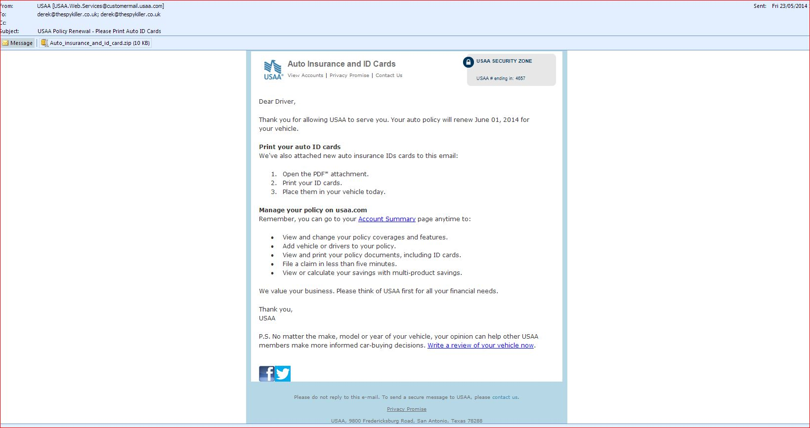 Usaa Policy Renewal Please Print Auto Id Cards Fake Pdf