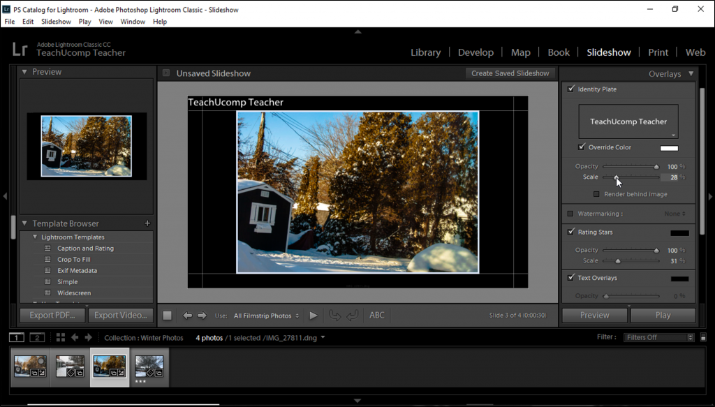 Add An Identity Plate To A Slideshow In Lightroom Classic Cc