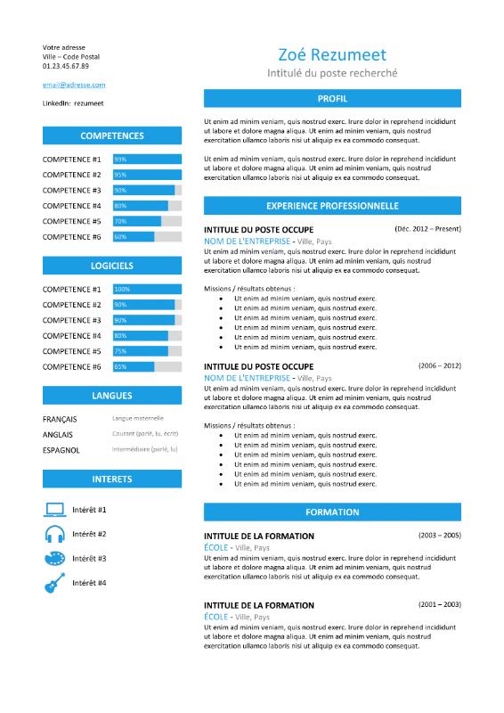 Zeeburg Modele De Cv Classique Bleu Cv Classique Modele Cv Curriculum Vitae