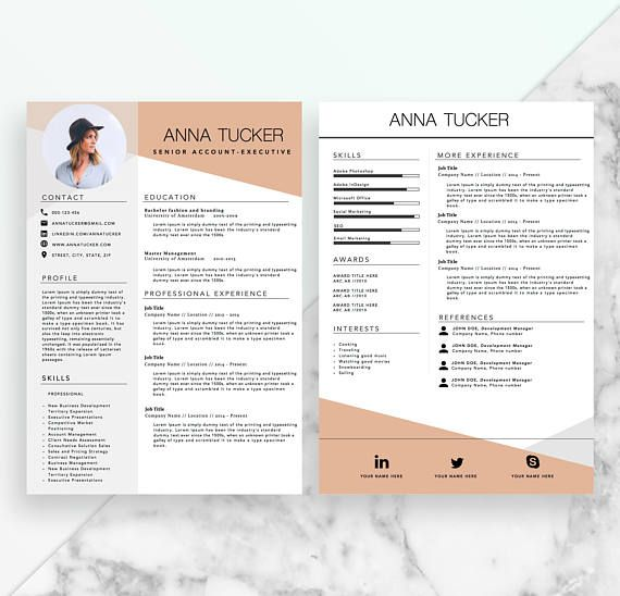 Modern Resume Template Cv Template Professional And Creative Resume Word Resume Instant Download Docx Modele De Cv Moderne Modele Cv Cv Moderne