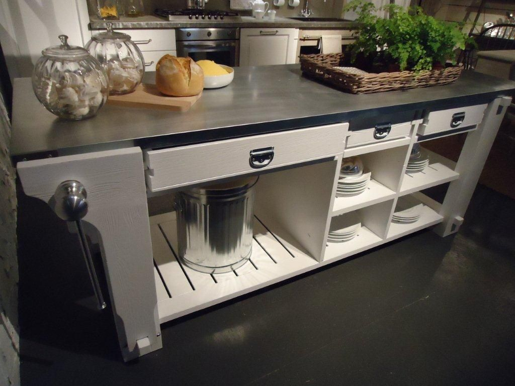 wooden piece of furniture for the kitchen, with worktop in steel ... - Banco Da Lavoro Cucina