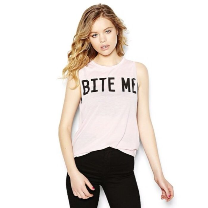 """Baby Pink """"Bite Me"""" Muscle Tee%0D%0A%0D%0AOne Size Fits"""