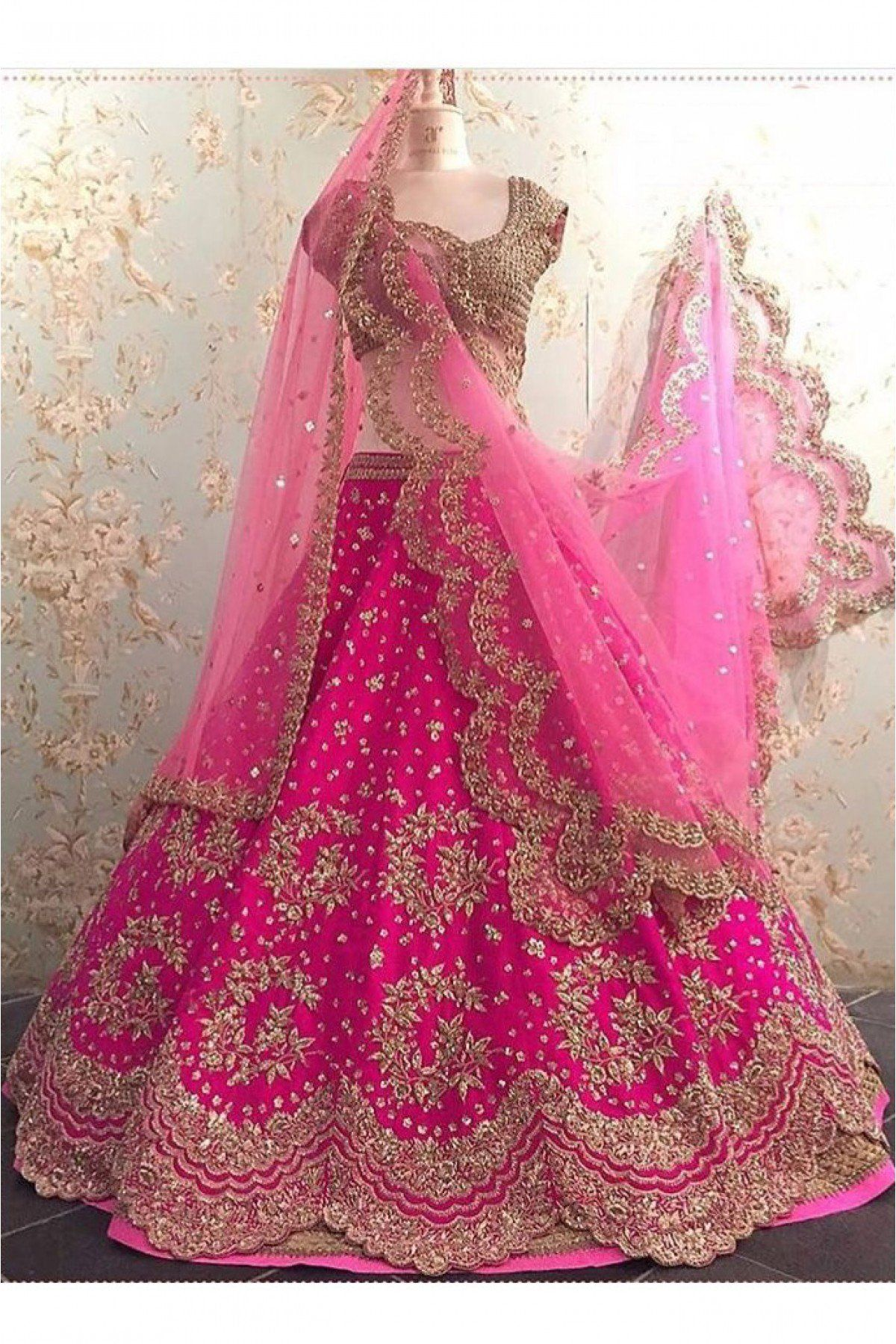 9d81a00e33 Buy Dhupion Silk Lehenga Choli In Pink Colour @ ninecolours.com. Free  Shipping in India available!