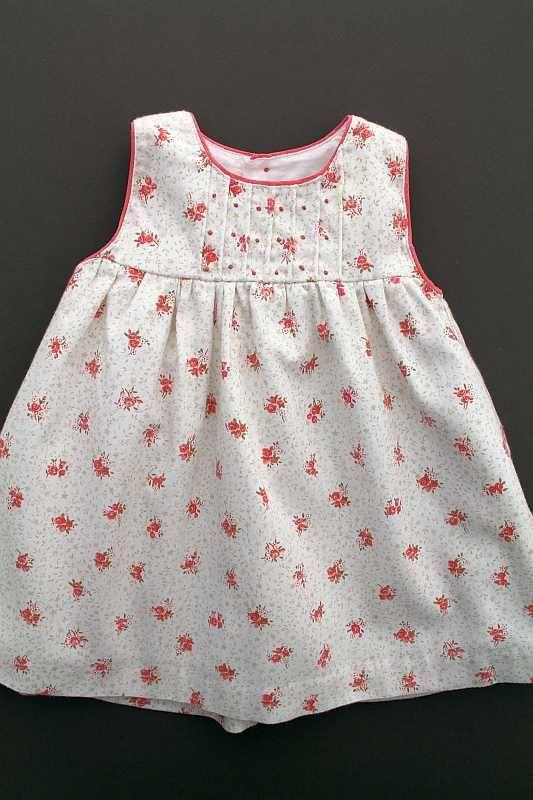 c274dabfa37bb Robe sans manches crème à fleurs corail chaud hiver entièrement doublée bébé  fille 3 mois Natalys