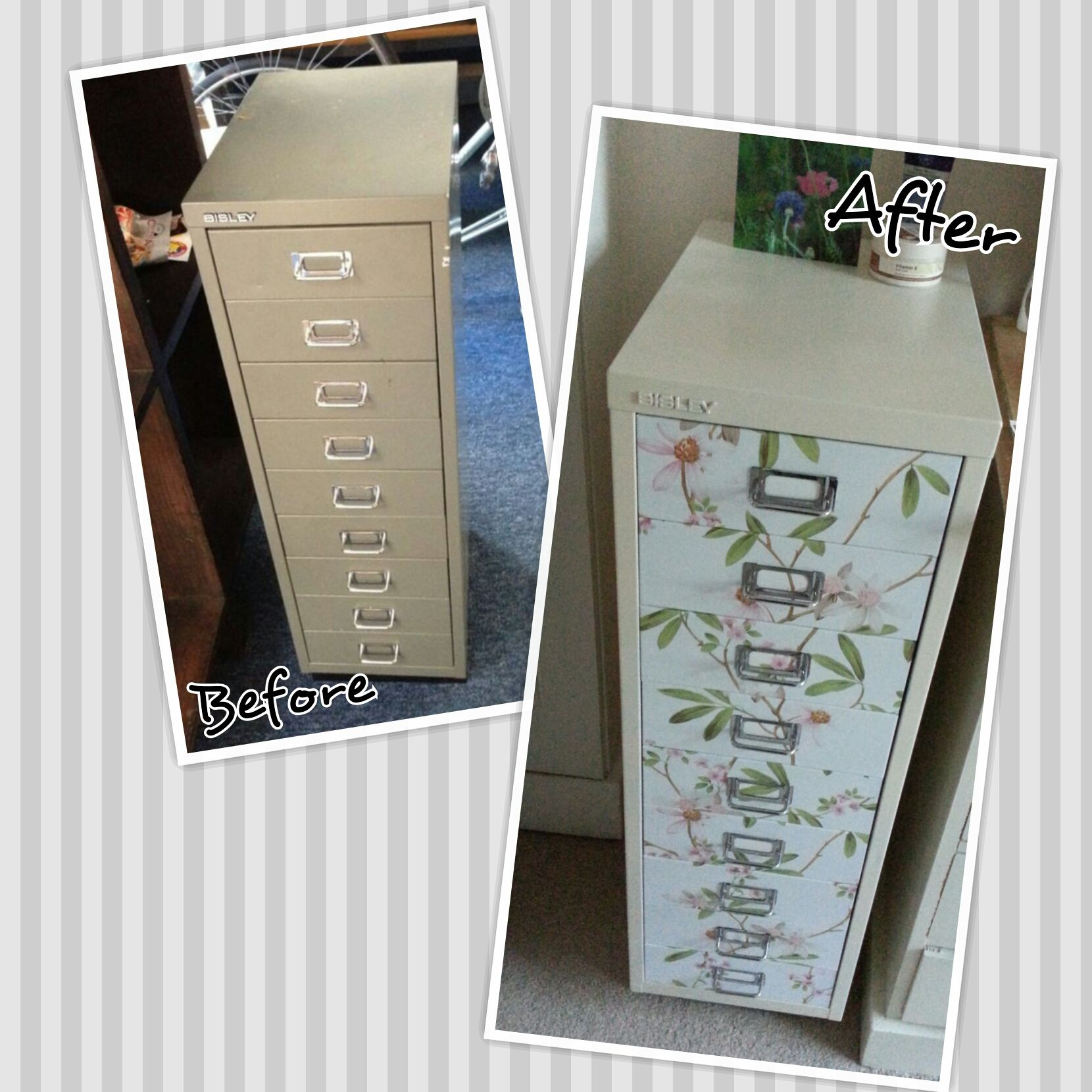 Home Filing Cabinet Makeover Using Cream Spray Paint And Vinyl Sticky Back Plastic. Much Better