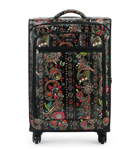 """Our 26"""" Spinner in Neon Spirit Desert makes traveling easy with extra room and compartments to store all your vacation must haves!"""