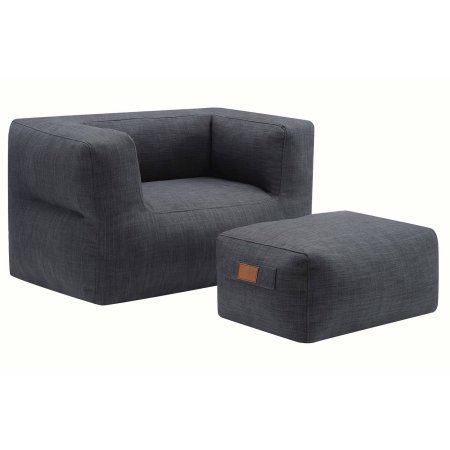 Dapperly Trimmed Chair And Ottoman Gray Walmart Com Chair And Ottoman Chair And Ottoman Set Chair