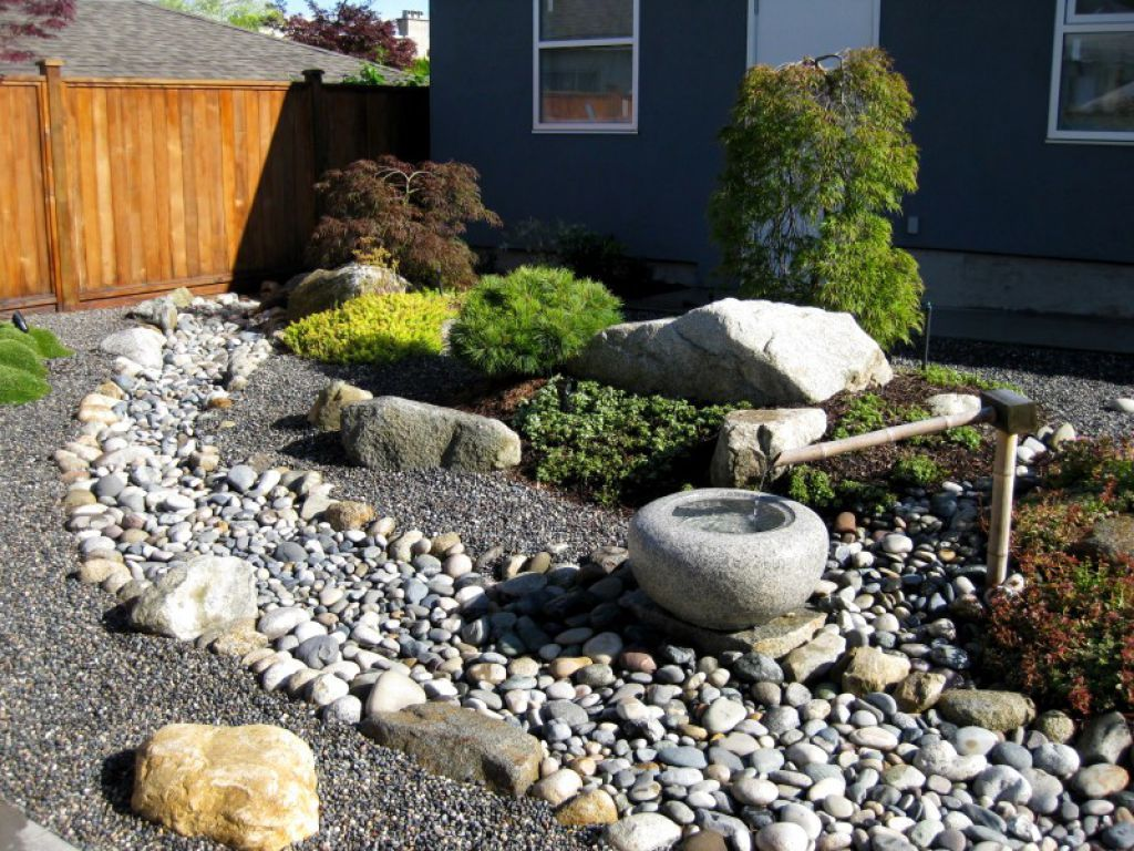 Front Yard With River Rock And Japanese Fountain | Garden ...