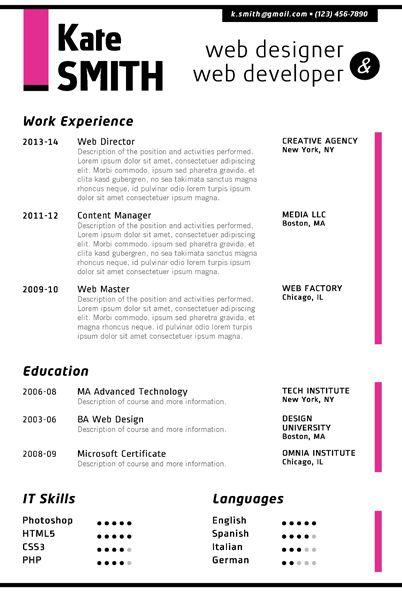 Find the Fuchsia Web Designer Resume Template on wwwcvfolio - microsoft resume templates 2013