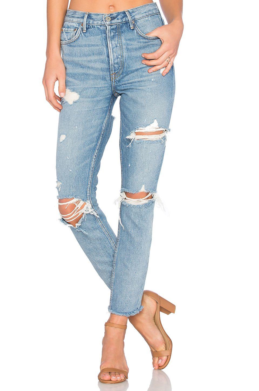 Karolina High-Rise Crop Jean in Blue GRLFRND Best Seller For Sale Outlet Store Locations Best Supplier EiJycY