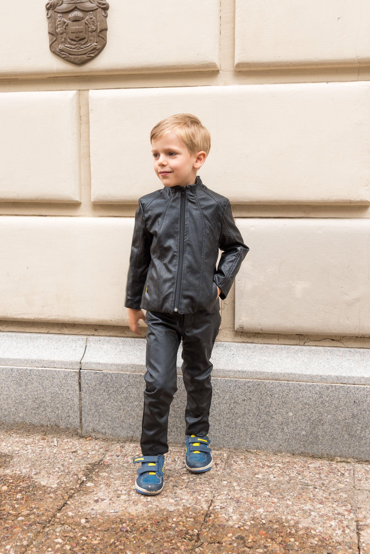 Boys black leather jacketfaux leather short coat eco