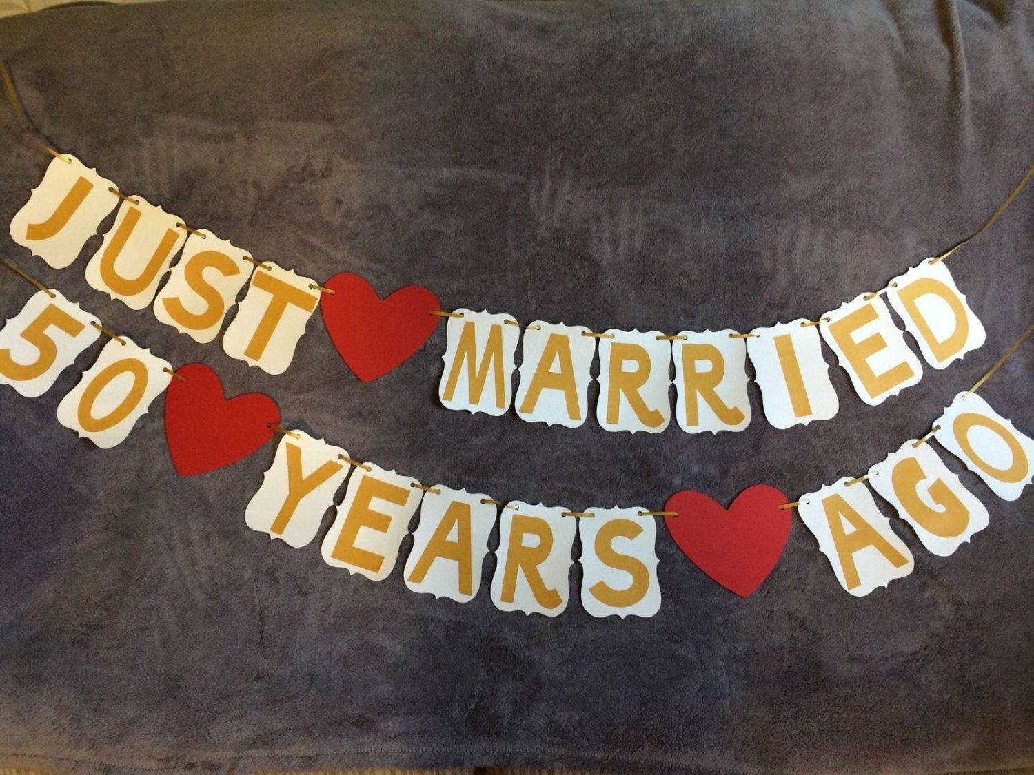 Wedding Anniversary Banner Just Married 50 years ago 50th Anniversary. Gold. Free Shipping