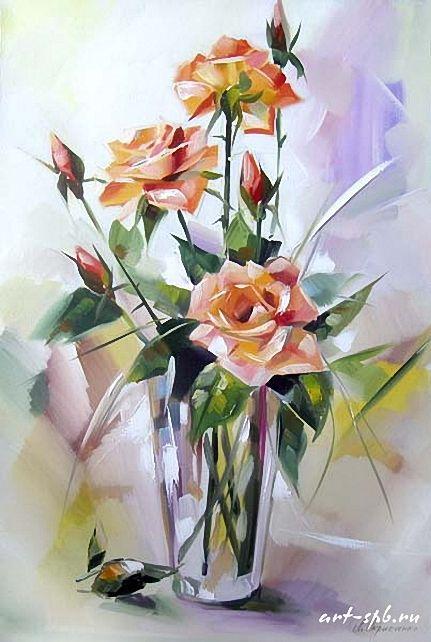 Roses in the vase \\ Lyudmila Skripchenko.
